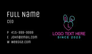 Neon Heart Bunny  Business Card