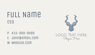 Gray Antelope Bust Business Card