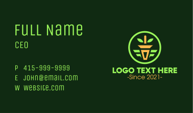 Potted Plant Circle Emblem Business Card