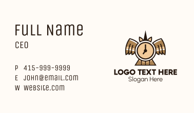 Time Clock Wings Business Card
