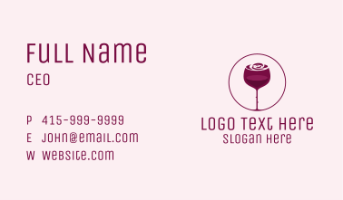 Rose Wine Glass Business Card
