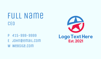 Patriotic National Star Business Card