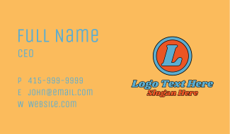 Retro Signage Letter  Business Card