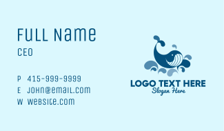 Swimming Blue Whale Business Card