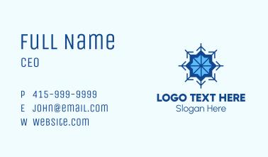 Blue Flower Snowflake Business Card