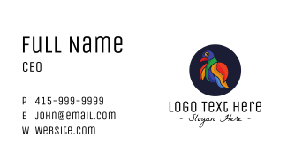 Colorful Love Bird Outline Business Card