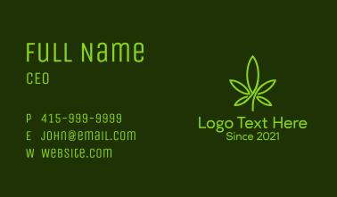 Monoline Cannabis Leaf Business Card