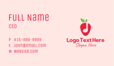 Strawberry Music Note Business Card