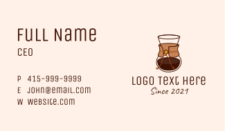Modern Coffee Carafe Business Card