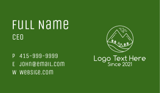 White Outdoor Camp Business Card