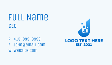 Blue Pixelated Letter J Business Card