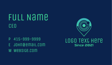 Camera Lens Location Pin Business Card