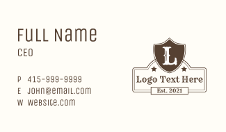 Brown Rodeo Letter Business Card