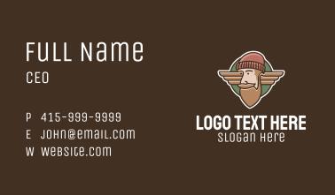 Hipster Lumberjack Emblem  Business Card
