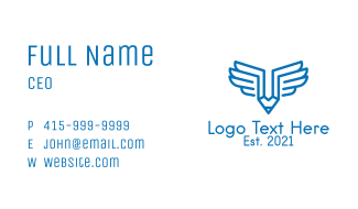 Blue Wing Pencil  Business Card