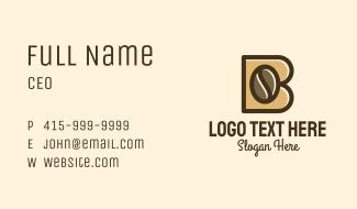 Letter B Coffee Bean Business Card