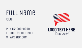 American Flag Chat  Business Card