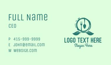 Vegetarian Restaurant Emblem Business Card