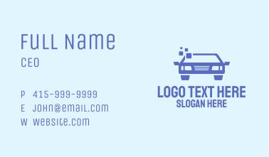 Blue Car Pixel Business Card