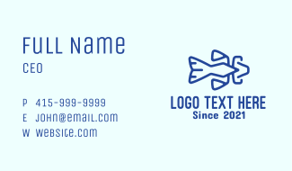 Minimalist Blue Catfish Business Card