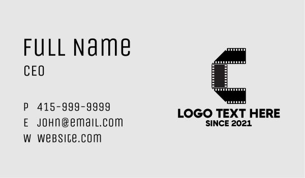 animation - Film Strip Letter C  Business card horizontal design