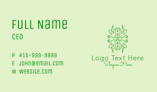Green Ornament Plant Business Card