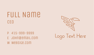 Winged Tribal Toucan Business Card