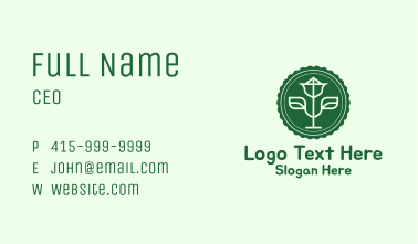 Green Plant Badge Business Card