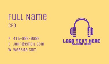 Modern Purple Headphones Business Card