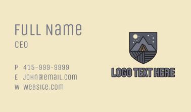 Night Camping Emblem Business Card