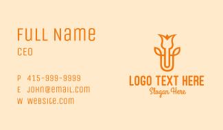 Orange Flower Bud Business Card