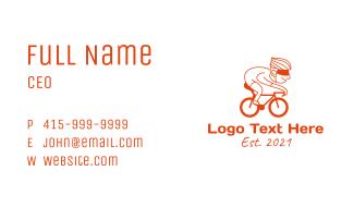 Orange Cyclist Mascot Business Card