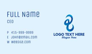 3D Blue Scribble Business Card