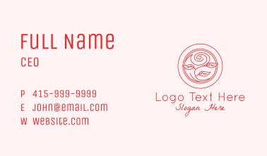 Red Monoline Flower Business Card