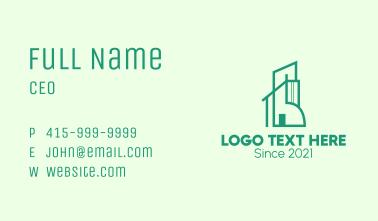 Green Modern Apartment Business Card