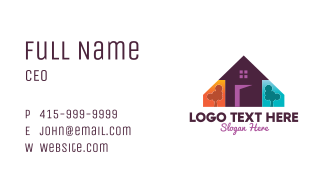 Colorful Family Home Business Card