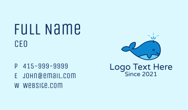 Cute Baby Whale Business Card