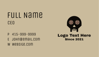 Tailor Skull Buttons Business Card