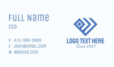 Blue Geometric Diamond Business Card