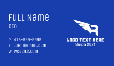 Winged Letter R Business Card