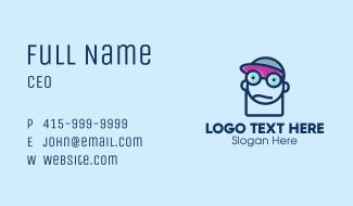 Boy Geek Line Art Business Card