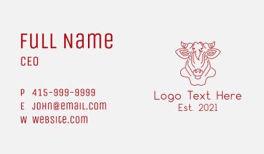 Cow Face Monoline Business Card