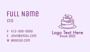 Purple Minimalist Cake  Business Card