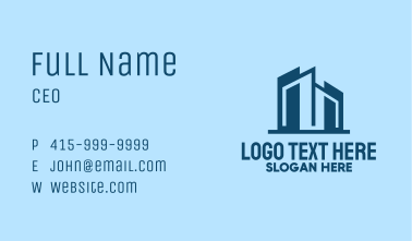 Geometric Blue City  Business Card
