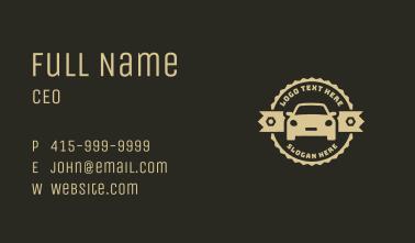 Rustic Car Mechanic Badge Business Card