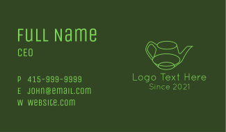 Minimalistic Green Teapot Business Card