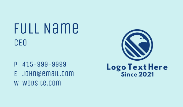 postal service - Blue Hawk Emblem Business card horizontal design
