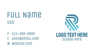 Blue Stripe Letter R Business Card