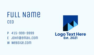 Blue Minimalist Mountain  Business Card