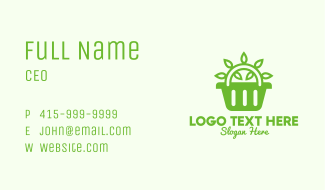 Green Organic Shop Basket Business Card